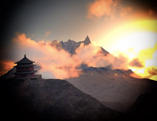 Sun temple - Buddhist shrine in the Himalayas 3d rendering