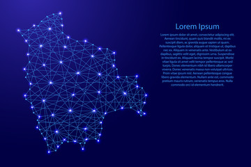 Map of Bolivia from polygonal blue lines and glowing stars vector illustration