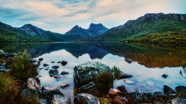 Early Morning Cradle Mountain and Reflection in Dove Lake - a cinema crop