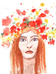 Summer girl with red hair. Bright watercolor. Woman face. Fashion illustration. Hand painted artwork. Girl with long red hair and blue eyes. Summer flowers on her head.