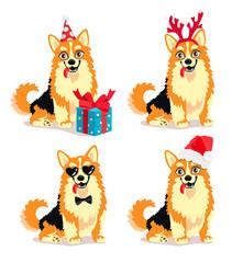 Dog breed Corgi with New Year Attributes
