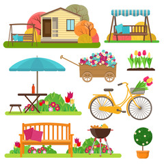 Set of beautiful garden scene with flowers, bike, garden furniture and decor