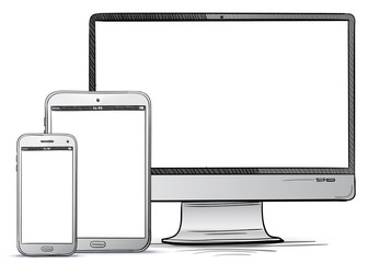 Computer Screen, Tablet PC, Smart Phone Hand Drawn Vector illustration.