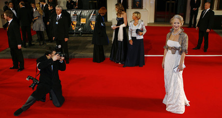 Mirren arrives at the BAFTA (British Academy of Film and Television Arts) awards at the Royal Opera House in London
