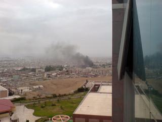 Smoke rises from the area around the U.S. embassy in Sanaa