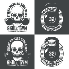 Retro logos for gym. Skull with dumbbell in the teeth. Kettlebell with vintage ribbon and inscriptions around. Versions for dark and light background.