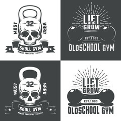 Logos for  athletic fitness club, or a retro-style gym. Skull in the form of a weight. Vintage dumbbell with inscriptions and sunburst.