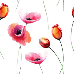 Seamless wallpaper with Tulips and Poppy flowers