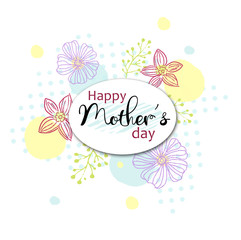 Happy Mothers Day card with text Happy Mother's Day on colorful flowers decorated background. Holiday background. Can be use for sale advertisement, backdrop, as a greeting card, poster, banner, flyer