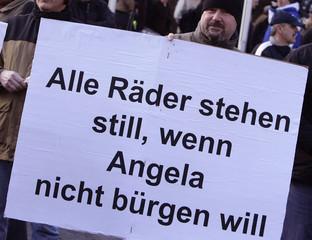 Around 5,000 employees take part at a demonstration of German company Schaeffler Group in Herzogenaurach