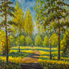 Original oil painting spring trees on canvas. Beautiful  spring in forest, shadows on road landscape - Modern impressionism painting.