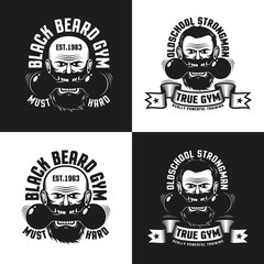 Old school logo of the gym with a bearded man holding a dumbbell in his teeth. Versions for dark and light backgrounds.