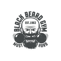 Black beard gym - grunge logo. Worn texture on a separate layer and can be easily disabled.