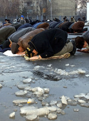 KAZAKH MOSLEMS PRAY IN ALMATY MARKING END OF RAMADAN.