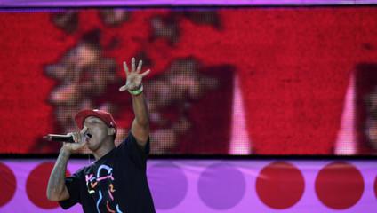 U.S. artist Pharrell performs during the Live Earth concert at Copacabana beach in Rio de Janeiro