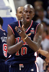 GARNETT OF USA REACTS TO A FOUL AT OLYMPIC BASKETBALL FINAL.
