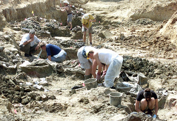 FORENSIC EXPERTS UNEARTH REMAINS IN MASS GRAVE.