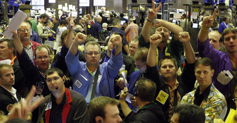 Corn options traders signal orders at the CBOT in Chcago