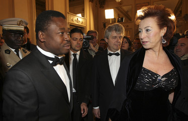 Congo Republic's President Sassou Nguesso is welcomed by Milan's major Letizia Moratti at La Scala Opera Theater in Milan