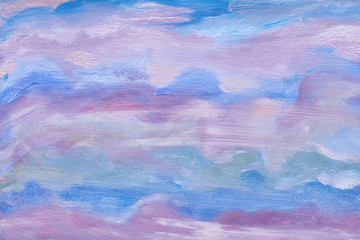 Abstract sky texture. Artistic design. Blue colors. Oil painted background. Modern artwork of an artist.