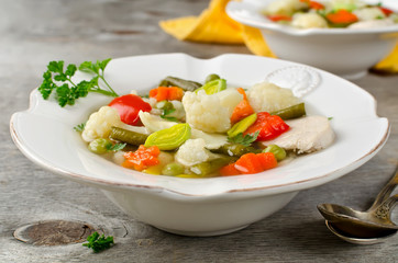 Soup on a chicken broth with vegetables