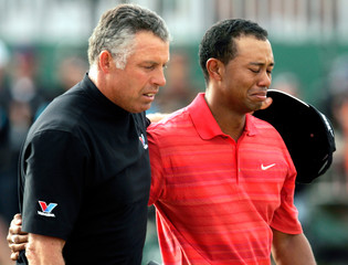 Woods of US cries after winning British Open Championship with his caddy in Hoylake