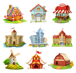 Houses and castles. Buildings 3d vector icons set