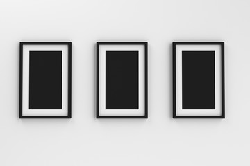 Realistic group of blank white picture frame templates set on white background, 3D render