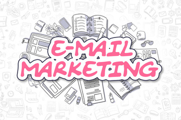 E-Mail Marketing Doodle Illustration of Magenta Inscription and Stationery Surrounded by Doodle Icons. Business Concept for Web Banners and Printed Materials.