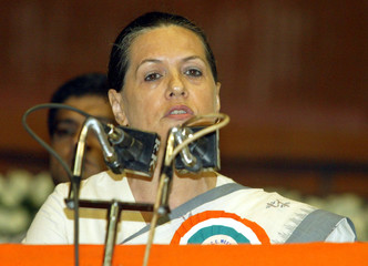Sonia Gandhi addresses her party workers in New Delhi.