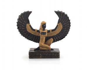 Goddess Isis on a white background. Inscribed figurine