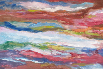Oil painting on canvas. Cold shades. Brushstrokes of paint. Modern art. Horizontal abstracted colorful waves.
