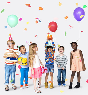 Happiness group of cute and adorable children having party