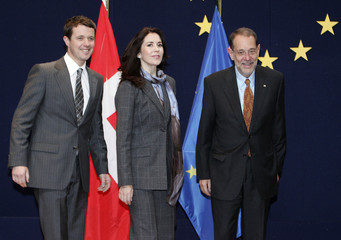 Denmark's Crown Prince Frederik and Crown Princess Mary are welcomed by E.U. foreign policy chief Solana in Brussels