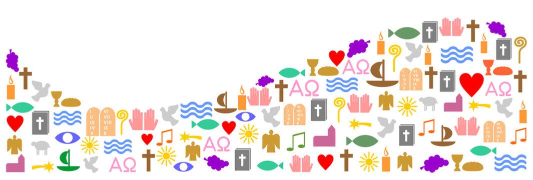 Bunte, christliche Symbole als Welle