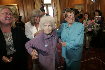 Octogenarians Del Martin and Phyllis Lyon participate in the first legal same-sex marriage ceremony at San Francisco City Hall in San Francisco