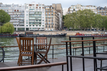 Restaurant terrace on the ship in the Seine,Paris,France
