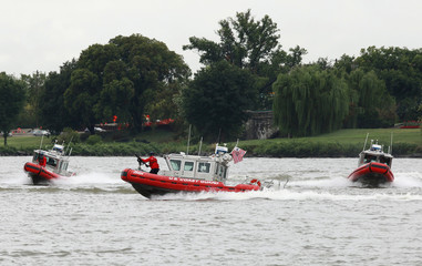 U.S. Coast Guard boats participate in a training exercise on the Potomac River in Washington