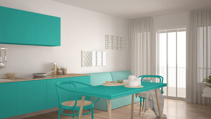 Scandinavian kitchen with sofa and table, wooden parquet floor, white and turquoise minimalist interior design