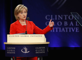 U.S. Secretary of State Hillary Clinton speaks at the Clinton Global Initiative in New York