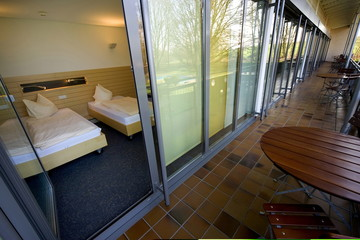 Picture shows a double room with balcony of Hotel Waltersbuhl in Wangen near lake Constance April 21..