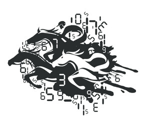 Horse Racing and Betting. Illustration of horse racing with digital numbers. Vector available.