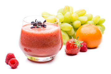Fresh fruit smoothies with ingredients