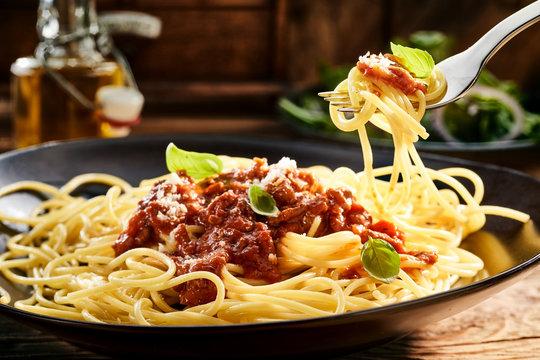 Eating a plate of tasty Italian spaghetti