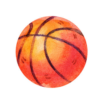 Cute Watercolor colorful basketball Illustrations isolated on white background. Hand drawn vintage basketball and retro design.
