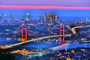 Panoramic view of Istanbul with the Bosphorus Bridge