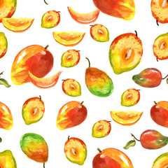 Watercolor seamless pattern, background with a pattern of tropical mango fruit. On a white background.