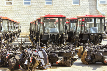 Assembly of combines and tractors, conveyor,  Ukraine March 29, 2016