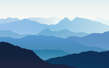 Landscape with blue silhouettes of mountains and light blue sky - vector illustration