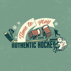Retro hockey poster with stick, gloves, helmet and ribbon. Shabby texture on separate layers and can be easily disabled